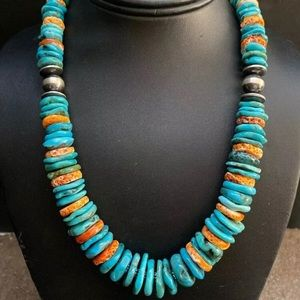 S.S.Turquoise W Orange Spiny Oyster Bead Necklace